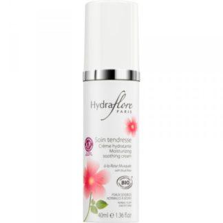 Soin tendresse hydratant à la rose musqué, Hydraflore propose un soin régénérant et anti-âge sans huiles essentielles ni allergènes pour femmes enceintes ou allaitantes