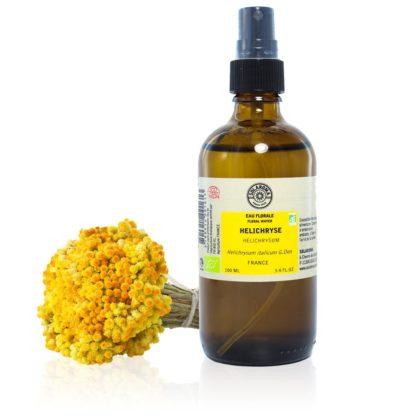 L'Hydrolat hélichryse Bio, appelé aussi Eau Florale d'Immortelle est obtenu à partir de l'Immortelle une plante au feuillage argenté 100% PURE ET NATURELLE