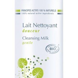 Lait nettoyant visage pour peaux sèches à normales. Nettoyez et démaquillez votre peau en douceur grâce à ce lait biologique riche en actifs hydratants