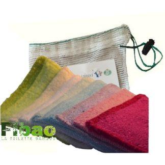Carré démaquillant Bambou qui permets un démaquillage en douceur et extrèmement efficace, doux et écologique, kit 7 carrés lavable 300 fois en machine et leur filet de lavage