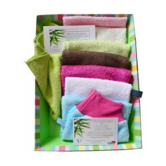 kit semaine composé de 7 gants en éponge de bambou-microfibre et une serviette pour le visage