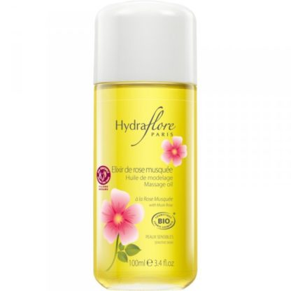 Elixir de rose musquée aux huiles hydratantes et sublimatrices, pour un modelage en douceur, de la marque hydraflore, label commerce équitable, huile anti-âge