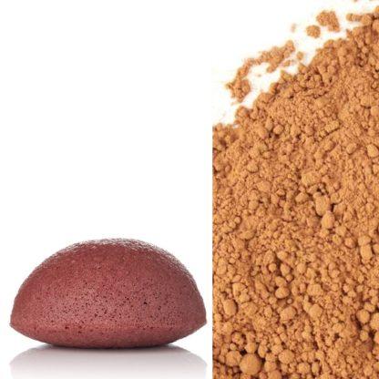 Eponge de Konjac à l'argile rouge, particulièrement riche en oxyde de fer, est biodégradable. Sans additifs ni colorants elle exfoliera et illuminera les teints ternes tout en estompant les rides; sans agressivité. Nettoie en profondeur les peaux matures ou sèches. 100 % fibres végétales.