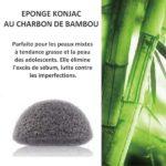 Eponge konjac au charbon de bambou biodégradable. Sans additifs ni colorants. Exfolie et équilibre le PH de la peau. Peaux grasse et acnéique