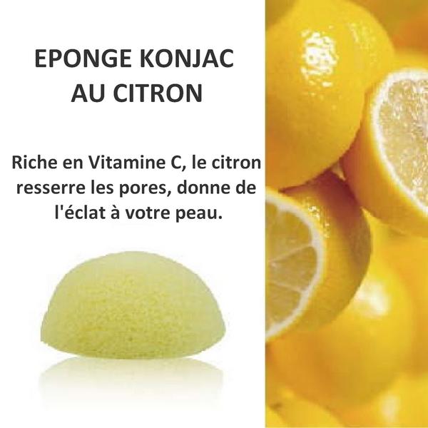 Eponge de konjac au citron biodégradable. Naturellement riche en vitamine C. Sans additifs ni colorants elle exfoliera donc sans agressivité et équilibrera le PH ou acidité de la peau en douceur.