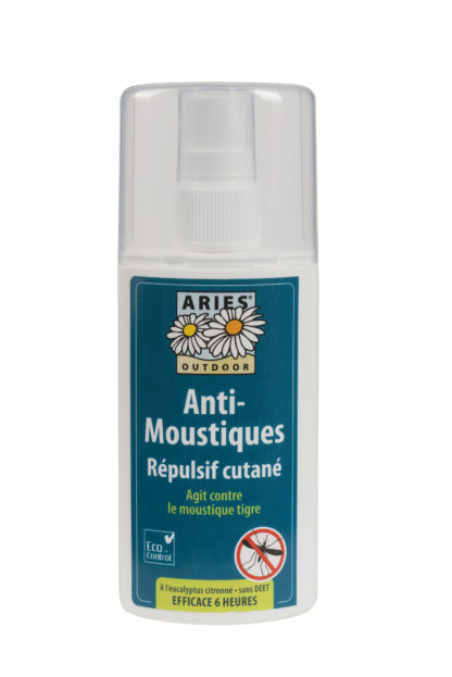 L'Anti-moustiques répulsif cutané formule Tropicale Aries est un spray naturel exempt de produit de synthèse. Contre Moustiques Européens, moustique tropicaux, moustique Tigre