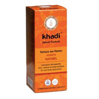 Coloration Végétale Noisette naturel Khadi selectionnée pour vous s'applique sur tous les cheveux, directement. Teinture entre le brun et le brun foncé.