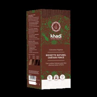 Coloration Végétale Noisette naturel Khadi selectionnée pour vous; elle s'applique sur tous les cheveux. Teinture cheveux vegan. coloration obtenue entre le brun et le brun foncé.