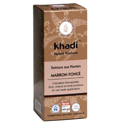 Coloration Végétale marron foncé Khadi selectionnée pour vous s'applique sur tous les cheveux, teinture entre le chatain foncé et le chatain très foncé.