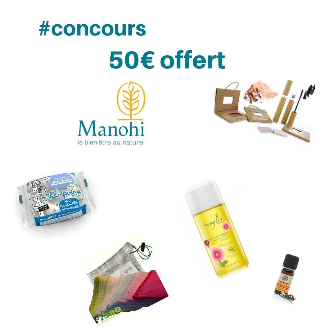 Concours de décembre sur Instagram pour gagner un bon d'achats de 50 € sur le site manohi.com