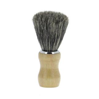 Blaireau en poils naturels, manche en bois de hêtre-Fabrication manuelle-Optez pour un rasage traditionnel avec le blaireau Al Bara