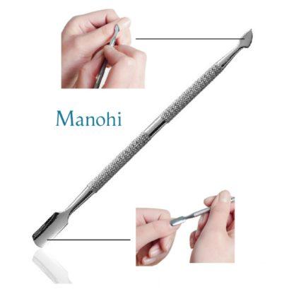 exemple d'utilisation du kit de 4 repoussoir de cuticule en acier inoxydable double embouts pour retirer les peaux mortes ongles et entretenir votre manucure